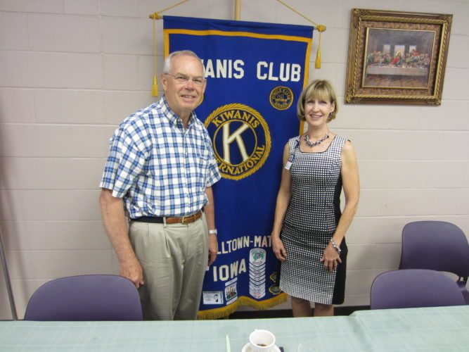 CONTRIBUTED PHOTO Marshall County Public Health Nurse Pat Thompson is welcomed to the Matins Kiwanis by Program Host Keith Bloomquist. Thompson has a goal of making Marshall County the healthiest county in the state.