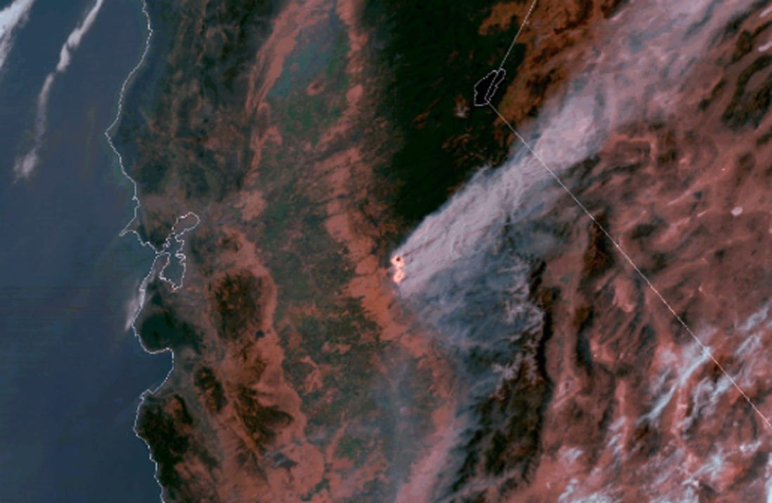 AP PHOTO This satellite imagery, posted Wednesday, on a National Oceanic and Atmospheric Administration website, shows a large plume of smoke spreading hundreds of miles east from the Ditwiler fire, near Yosemite National Park in California's Sierra Nevada.