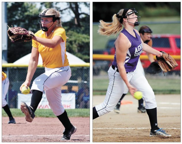 T-R FILE PHOTOS • West Marshall pitcher Kallie Malloy, left, and AGWSR pitcher Taryan Barrick, right, were selected to the 2017 Iowa Girls Coaches Association all-state first teams, with Malloy representing the Trojans in Class 3A and Barrick representing the Cougars in 1A.