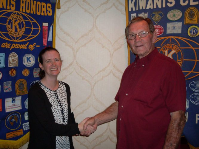 CONTRIBUTED PHOTO Kiwanis P.M. President Kenny Lamb welcomed Melanie Shellenberger, from the Secretary of State's office, as she presented a program on the Safe at Home program monitored by her office.