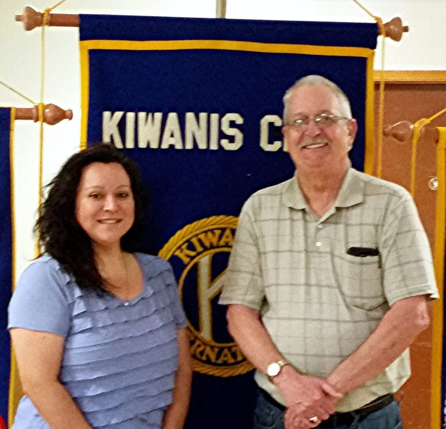 "CONTRIBUTED PHOTO Mike Gowdy welcomes Luisa Ortega to the Kiwanis ""Noon"" meeting to present an update on the Marshalltown Fourth of July fireworks display and the plans for the future."