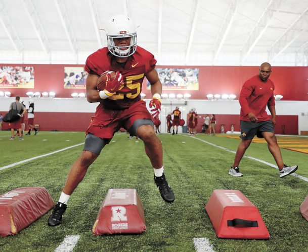 AP PHOTO • Iowa State running back Sheldon Croney participates in a drill during Monday's football practice in Ames.