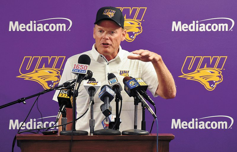 T-R PHOTO BY THORN COMPTON • Northern Iowa head football coach Mark Farley responds to a question during the Panthers' annual media day event on Wednesday in Cedar Falls.