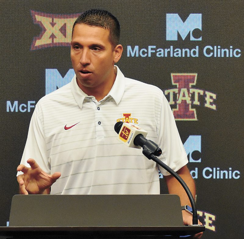 T-R PHOTO BY THORN COMPTON • Iowa State head football coach Matt Campbell talks with press members during the Cyclones' media day on Thursday. Campbell touched on a range of topics, from expectations for his second year to personnel issues, such as Joel Lanning making the switch from quarterback to linebacker.