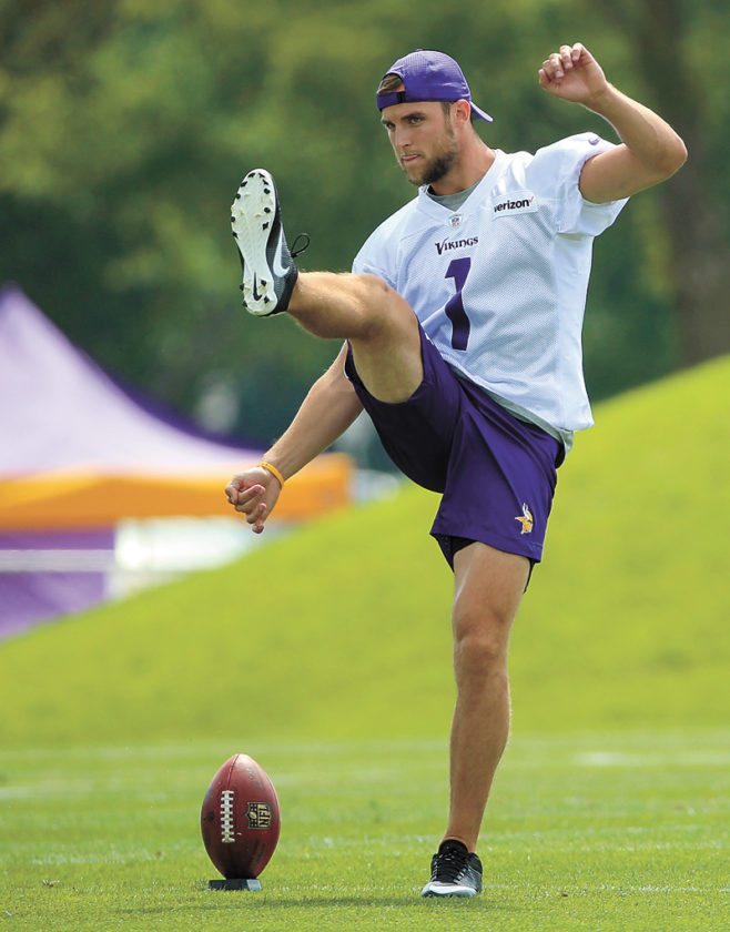 AP PHOTO • Minnesota Vikings placekicker Marshall Koehn works out during training camp on July 28 in Mankato, Minn. After the Vikings made a midseason switch from Blair Walsh last year, Kai  Forbath came in and made all of his field-goal tries. But he has not been given the job for 2017 yet. Koehn is trying to take it.