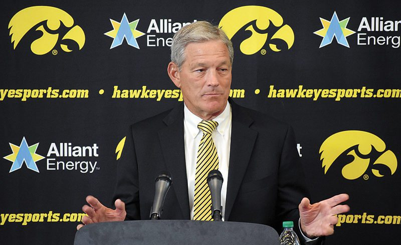 T-R PHOTO BY THORN COMPTON • University of Iowa head football coach Kirk Ferentz responds to a question during Saturday's annual media day event at Carver-Hawkeye Arena in Iowa City.