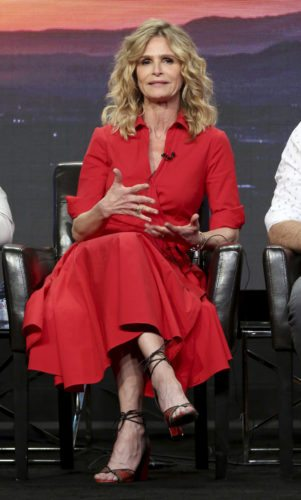 "Kyra Sedgwick participates in the ""Ten Days In The Valley"" panel during the Disney ABC Television Critics Association Summer Press Tour at the Beverly Hilton on Sunday, Aug. 6, 2017, in Beverly Hills, Calif. (Photo by Willy Sanjuan/Invision/AP)"