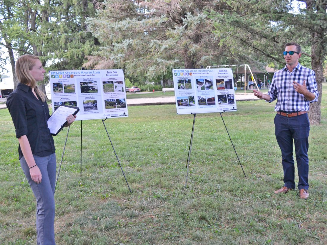 T-R PHOTO BY SARA JORDAN-HEINTZ Landscape designer Shannon Gapp, left, and landscape architect Casey Byers, right, both representatives from Bolton & Menk consulting agency, unveiled their initial findings in a public presentation, held Tuesday afternoon. The pair spoke about ways to improve and update Marshalltown's 21 parks, using data collected from a recent community-wide survey, plus analyzing national data. The findings will be used to complete Park's and Rec.'s 2018-2028 Strategic Master Plan.