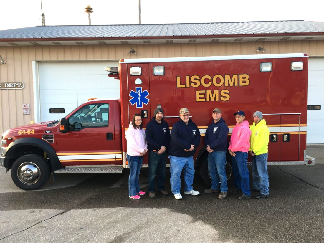 Pictured from left are current Liscomb EMS members Melissa Olson, Mike Thomas, Terry Strang, Jordan Hoy, Ben Olson and Junior Pursha. The group is standing in front of the ambulance that was purchased in August of 2016 after the squad was re-organized and revived.