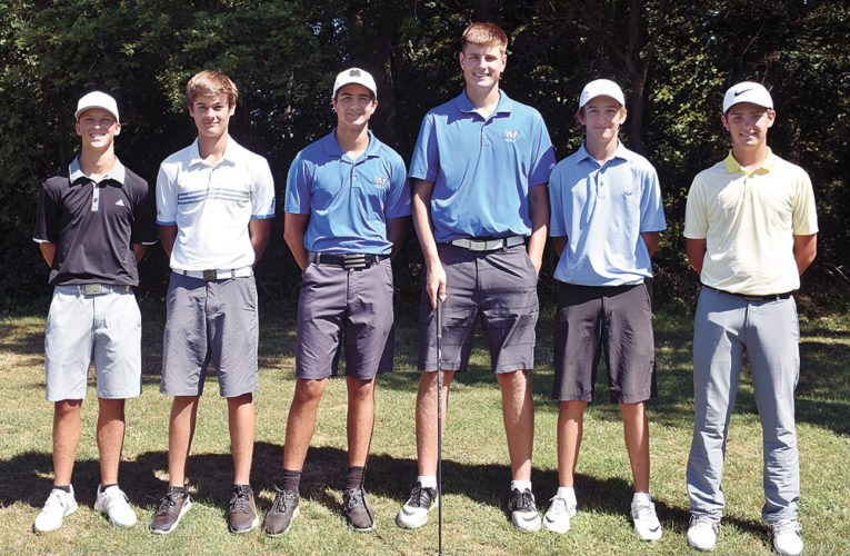 T-R PHOTO BY THORN COMPTON • Pictured are the returning varsity players for Marshalltown golf from last season. From left, seniors Nate Vance, Tate Carlson, Keygan Hansen, Luke Appel, sophomore Cole Davis and junior JD Pollard. The Bobcats take on Dowling Catholic to start their season on Thursday at The Legacy Golf Club in Norwalk.