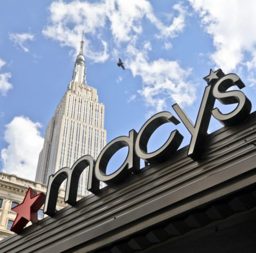 This Tuesday, May 2, 2017, photo shows Macy's corporate signage at its flagship store in New York. Macy's Inc. reports earnings, Thursday, Aug. 10, 2017. (AP Photo/Bebeto Matthews)