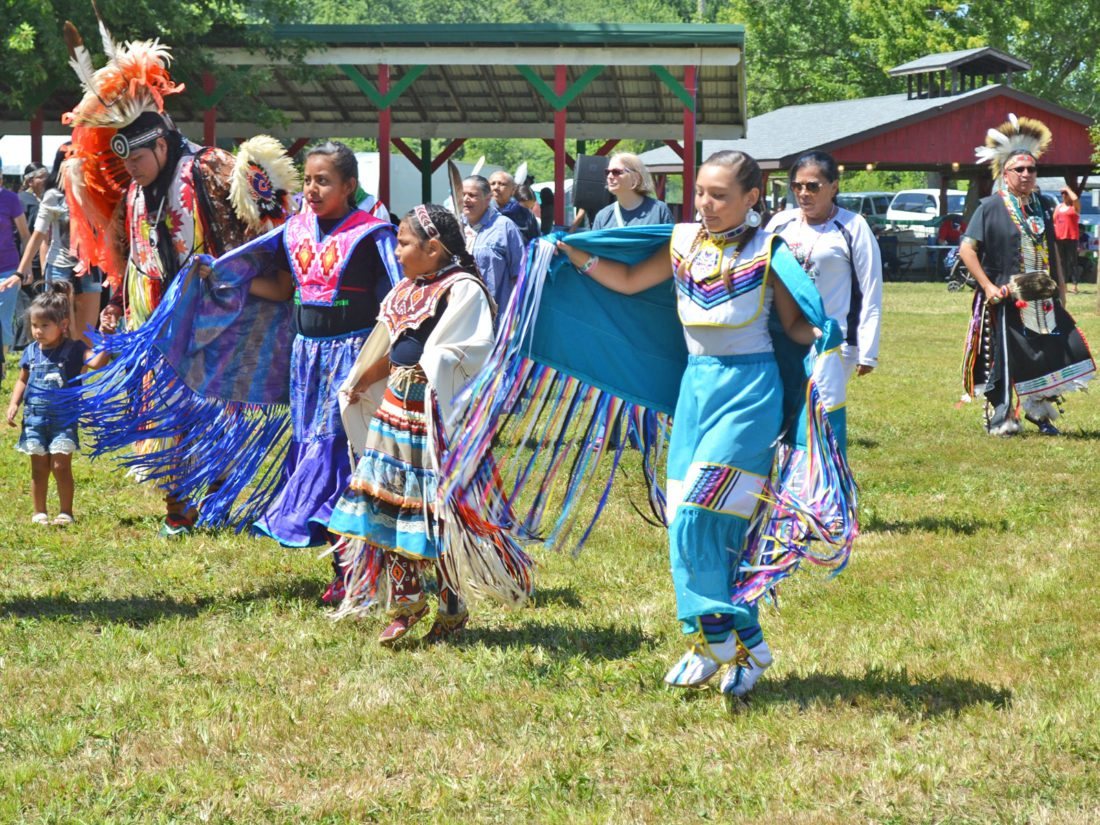 A variety of dances are performed each day of the powwow at 1 p.m. and 7 p.m., including the Meskwaki Dance, followed by the Friendship Dance (pictured).