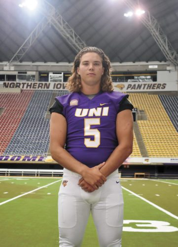T-R PHOTO BY THORN COMPTON • Peyton Williams, a 2016 Marshalltown High School graduate, poses for a photograph during the Northern Iowa football team's annual media day event Aug. 2 at the UNI-Dome in Cedar Falls. Williams, who played quarterback and linebacker as a Bobcat, was set to make his debut at tight end until an injury forced Williams into surgery this summer.