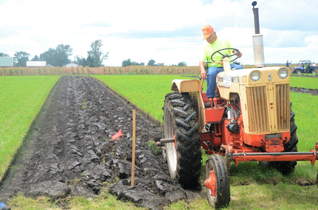 T-R FILE PHOTO Monroe Miller of Kalona comes to the end of a furrow in the 2016 Iowa Plowing Association's State Plowing Contest held in Marshall County last August. The 2017 contest returns to Marshall County on Saturday, Aug. 19 on land farmed by Kevin Holl on Underwood Avenue.