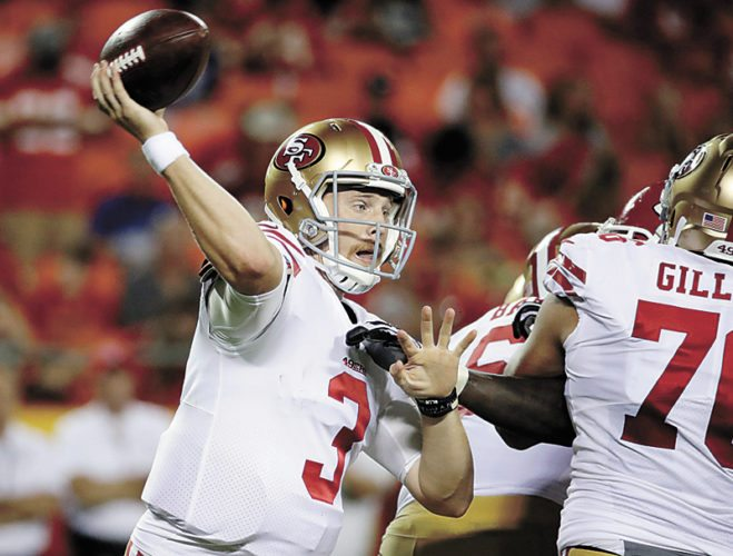 AP PHOTO • San Francisco 49ers quarterback C.J. Beathard (3) throws a pass during the second half of the team's NFL preseason game against the Kansas City Chiefs on Friday in Kansas City, Mo.