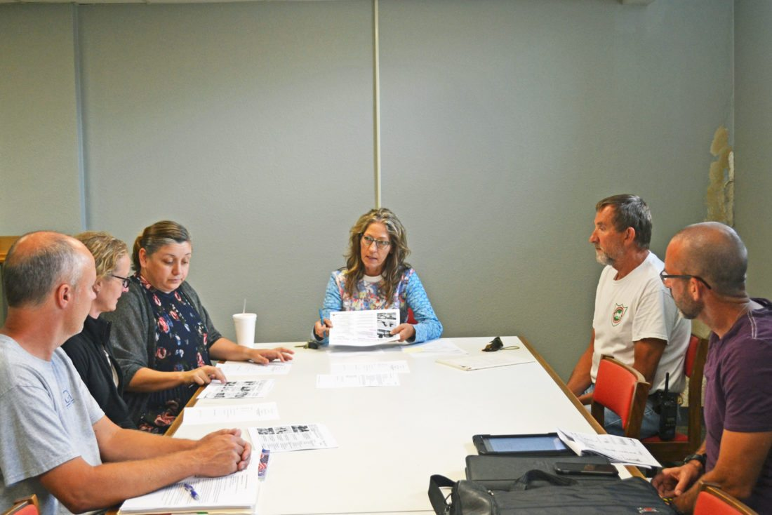 T-R PHOTO BY SARA JORDAN-HEINTZ The Marshalltown Parks and Rec. Advisory Committee met Wednesday afternoon at City Hall, to discuss the latest findings of the Parks and Rec. survey, and to discuss plans for renovations, repairs and general upkeep of the city's 21 parks. Parks and Rec. Director Anne Selness (center) said the public has expressed an interest in Parks and Rec. repairing existing park structures before major renovating is done.