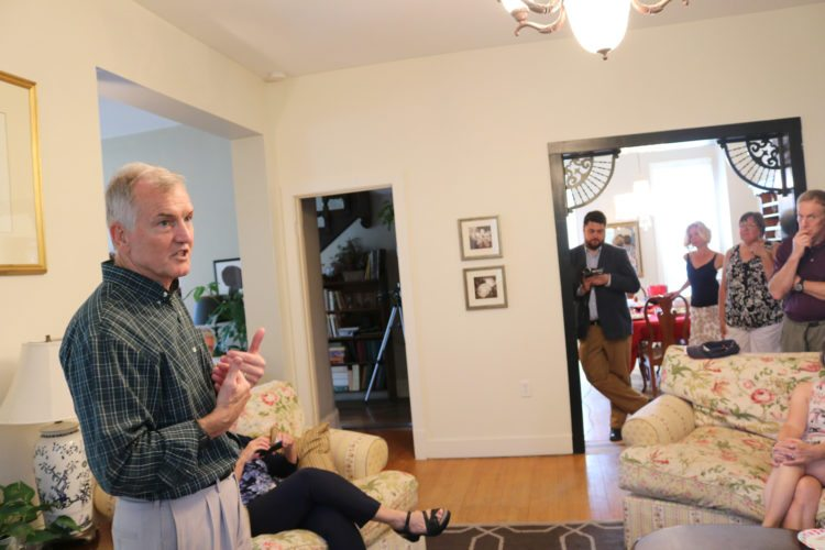 T-R PHOTO BY ADAM SODDERS Democratic gubernatorial candidate John Morris stopped by a Marshalltown home Saturday afternoon to discuss his vision for the state.