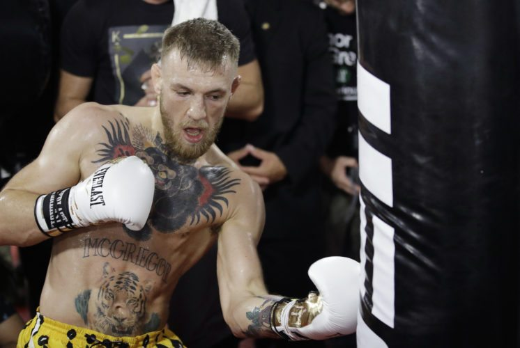 Conor McGregor trains during a media workout Friday, Aug. 11, 2017, in Las Vegas. McGregor is scheduled to fight Floyd Mayweather Jr. in a boxing match Aug. 26 in Las Vegas. (AP Photo/John Locher)