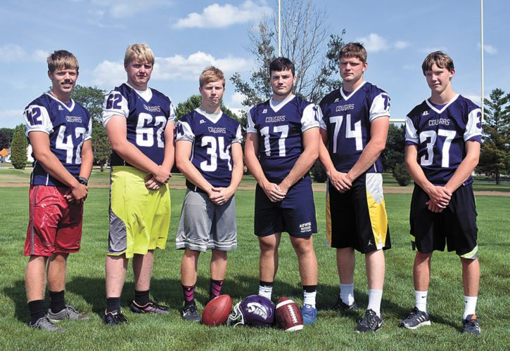 T-R PHOTO BY THORN COMPTON • The AGWSR football returns six letterwinners from last season's 8-man playoff squad. Pictured, from left, are Joe Wiarda, Ethan Ubben, Liam Stubbe, Aaron Roelfs, Sawyer Heitland and Lucas Starr.