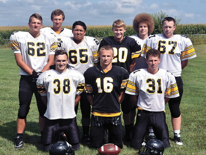 T-R PHOTO BY THORN COMPTON • Comets football returns nine starters from last season. Pictured are front row: (from left) Greg Schmitt, Brad Barkema and Blake Mann; second row: Ben Paper, Calob Keller, Coby Willett and Keegan Rhinehart; back row: Jack Garber and Connor Thompson.