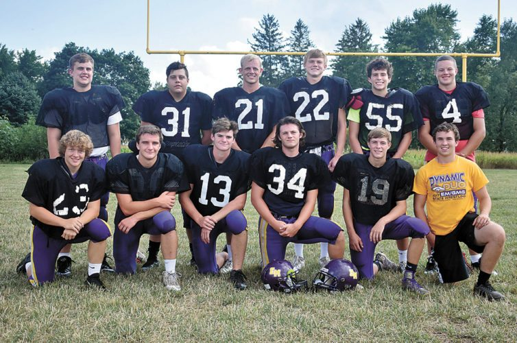 T-R PHOTO BY THORN COMPTON • The East Marshall football team returns 12 letterwinners from last season. Pictured are, front row: (from left) Dillon Lee, Noah Bandstra, Kamren Hoskins, Cole Nauman, Carson Burchland and Caden Steward; back row: Jacob Carver, Devon Smith, Logan Nicholson, Zane Johnson, Tyler DeBondt and Logan Noe-Brown.