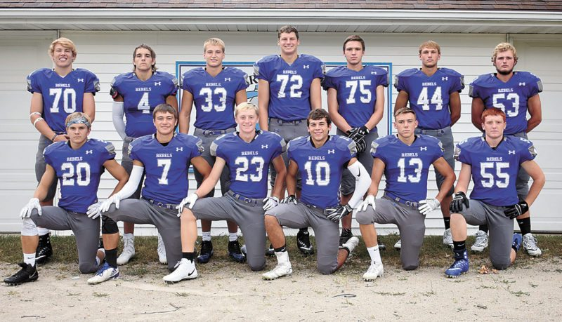 T-R PHOTO BY THORN COMPTON • The Gladbrook-Reinbeck football team brings back 13 letterwinners from last season's Class A state title run. Pictured are front row: (from left) Josh Peterson, Walker Thede, Cael Wyatt, Hunter Lott, Matt Johannsen and Kyle Koppen; back row Bronson Wrage, Seth Gretillat, Gage Murty, Mason Skovgard, Will Blakesley, Bryce Schick and Rhett Barnes.