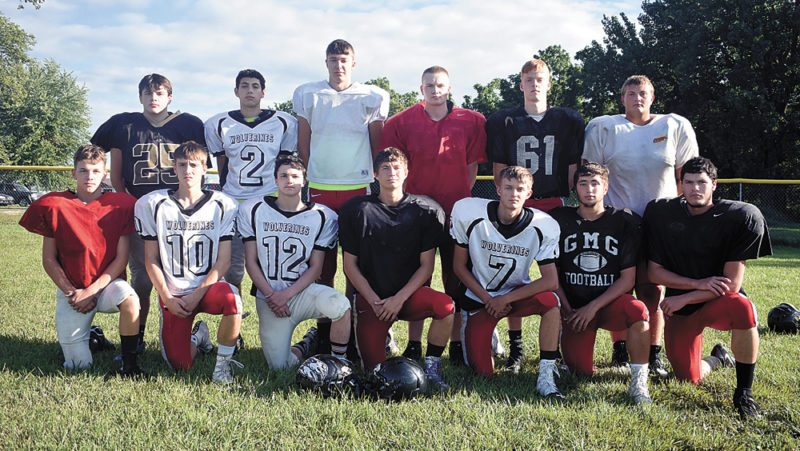 T-R PHOTO BY THORN COMPTON • The GMG football team returns 13 letterwinners from last season. Pictured are, front row: (from left) Ethan Beach, Kolton Gill, Owen Beach, Carson Wobeter, Parker Welton, Blaze Krull and Brock Baldazo; back row: Dalton Hurd, Brayden Peterson, Hunter Smoldt, Conner Casto, Cody Cartright and Wesley Steiner.