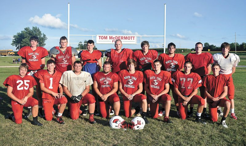 T-R PHOTO BY THORN COMPTON • The North Tama football team returns 16 letterwinners from last season. Pictured are, front row: (from left) Zach Greiner, Nic Sierra, Peyton Willenbring, Michael Kreinert, Tyler Morrison, Noah Bond, Zade Podhajsky and Hale Hulme; back row: Cael Even, Ryan McLean, Keegan Rohlfsen, Cory Kennedy, Trinity Grimm, Skyler Staker, Chase Morrison and Tayten Payne.