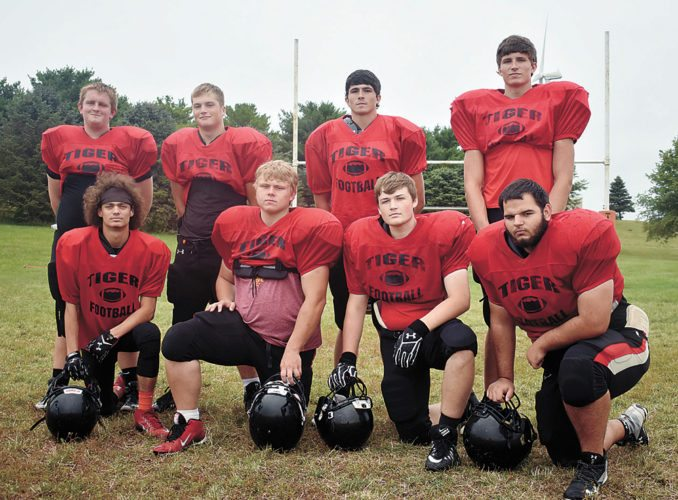 T-R PHOTO BY THORN COMPTON • The South Hardin football team returns eight seniors from last season. Pictured are, front row: (from left) Logan Spindler, Brock Hollingsworth, Jacob Fox and Ryne Fuller; back row: Tommy Platte, Jason Skartvedt, Kolten Rewoldt and Kevin Rewoldt.