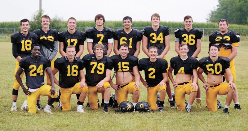 T-R PHOTO BY ROSS THEDE • The West Marshall football team returns 15 letterwinners from last year's squad, which finished 5-4 overall. Pictured are, front row: (from left) Ryan Sabastiano, Chase Burr, Levi Randall, Alex Dickey, Jake Tollefson, Beau Coberley and Kristian Carbajal; back row: Josh Larsen, Nat Markle, Cameron Bannister, Parker Hulbert, Cole Baccam, Michael Doe, Joe Halverson and Kyle Schaper.