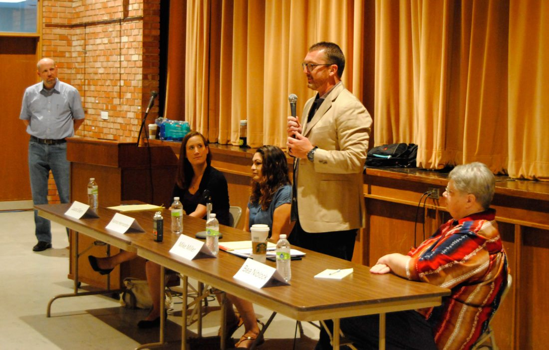 The Marshalltown Education Association sponsored a candidate forum Saturday featuring four of the five candidates seeking election to the Marshalltown School Board. Pictured from left: MEA member and Marshalltown High School instructional coach Brad Weidenaar, candidates Laura Eilers, Karina Hernández, Mike Miller and Bea Niblock. Candidate Ben Fletcher was not in attendance.