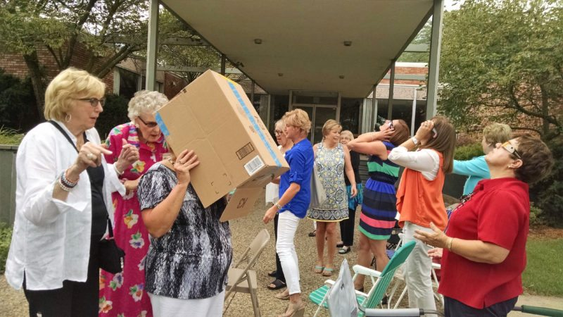 Members of P.E.O. Chapter LT met on Monday with the program for the meeting being the solar eclipse. Following the viewing of the eclipse with the glasses or homemade viewing boxes, a regular meeting was conducted