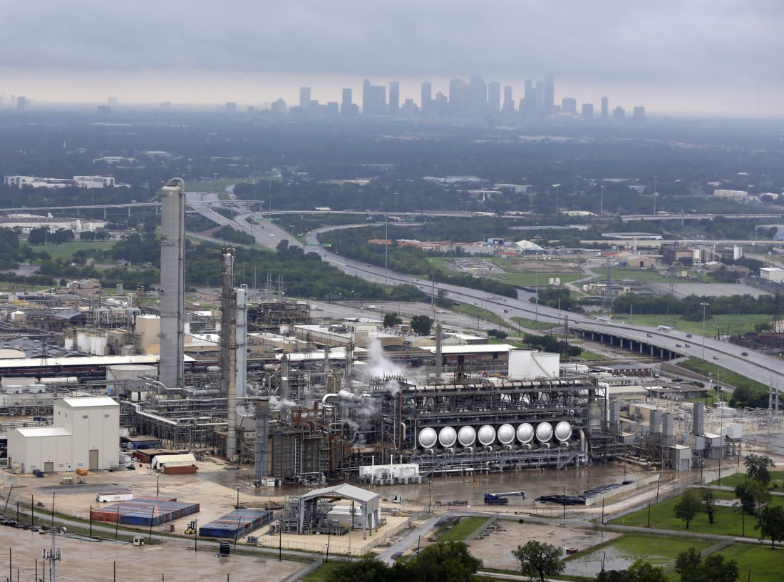ADDS NAME OF REFINERY - This aerial photo shows the Flint Hills Resources oil refinery near downtown Houston on Tuesday, Aug. 29, 2017. (AP Photo/D1avid J. Phillip)