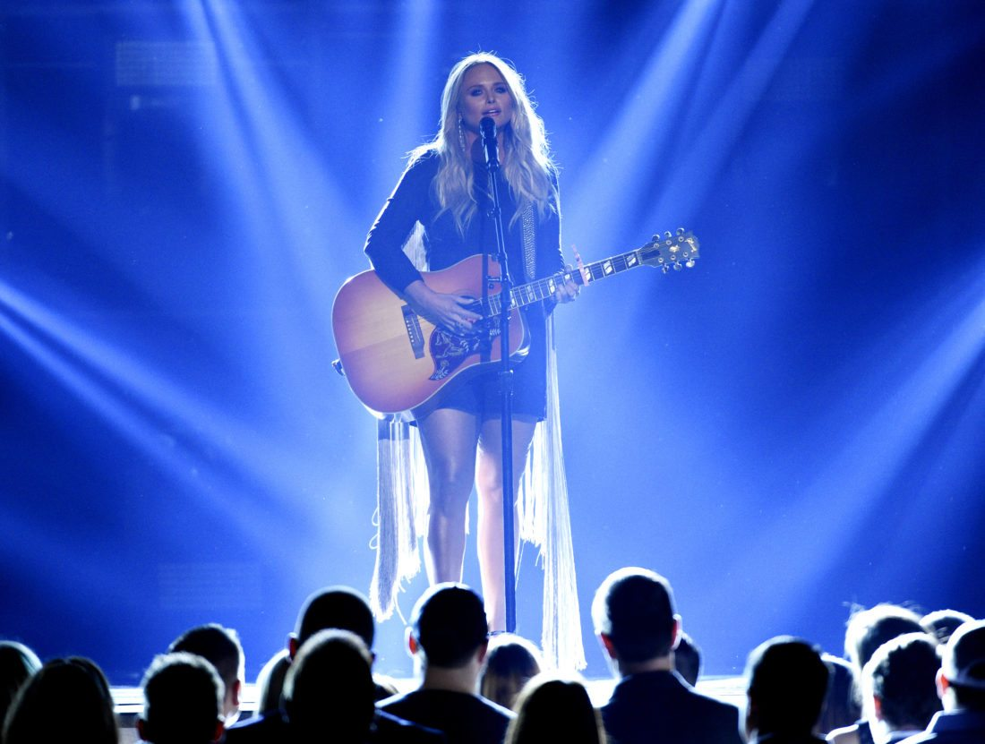 "FILE - In this Sunday, April 2, 2017, file photo, Miranda Lambert performs ""Tin Man"" at the 52nd annual Academy of Country Music Awards at the T-Mobile Arena in Las Vegas. Lambert leads her peers with five Country Music Association nominations, followed closely by Little Big Town and Keith Urban with four each. Lambert was nominated Monday, Sept. 4, for song and single of the year for ""Tin Man,"" and also earned nods for album, female vocalist and best video of the year. (Photo by Chris Pizzello/Invision/AP, File)"