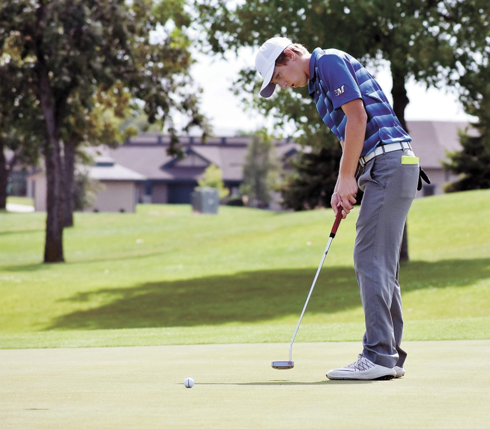 T-R PHOTO BY THORN COMPTON • Marshalltown sophomore Cole Davis sends a putt toward the hole on the 10th green on his way to taking medalist honors at the Ankeny Hawks Invitational on Wednesday.