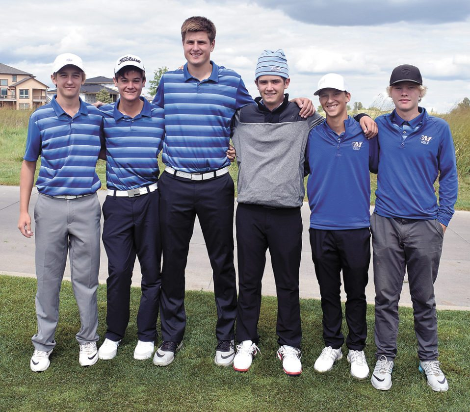 T-R PHOTO BY THORN COMPTON • The Marshalltown boys golf team poses at Otter Creek Golf Course on Wednesday after winning the Ankeny Hawks Invitational. Pictured are, from left, Cole Davis, Tate Carlson, Luke Appel, JD Pollard, Nate Vance and Mason Reid.