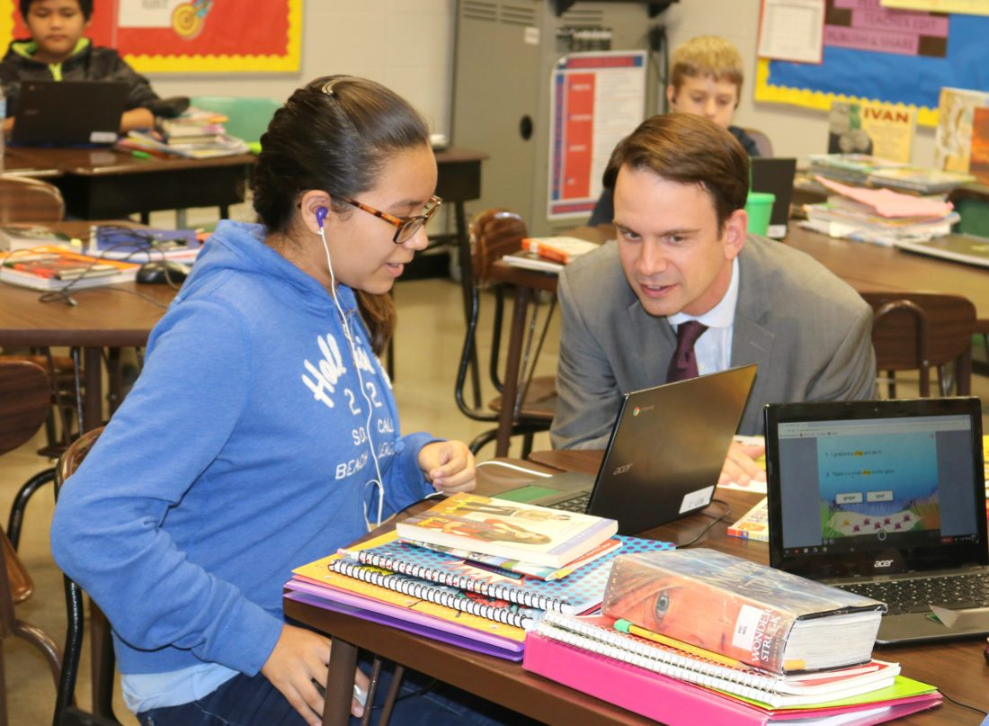 T-R PHOTO BY ADAM SODDERS Iowa Department of Education Director Ryan Wise, along with members of the State Board of Education and other department staff, toured Lenihan Intermediate School and Anson Elementary School to see programs and teachers in action Thursday.