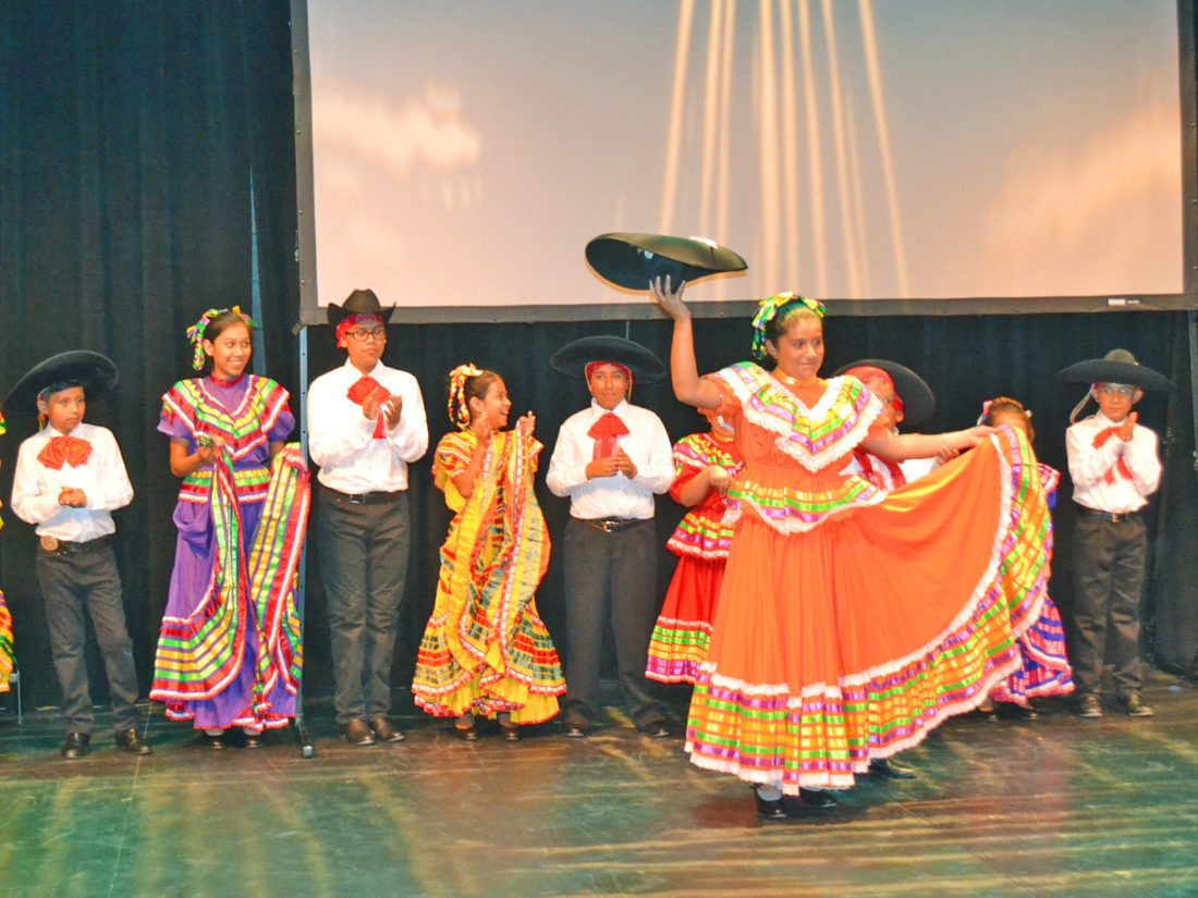 Pictured is the finale of the free hour-long performance by the Ninos del Tepeyac. Each dancer wore a colorful costume, reflective of a particular Mexican state's cultural and heritage.