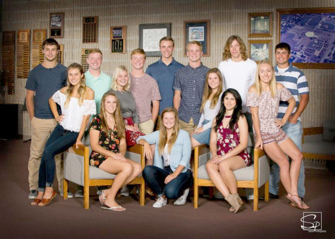 The Marshalltown High School Homecoming Court has been named, and a parade is set for 6 p.m. on Sept. 21 along Main Street. A king and queen will be crowned that same evening. Pictured front row, from left: Sarah Jacobs, Gretchen Benscoter and Anna Hernandez. Second row: Emily Hass, Claire Stalzer, McKenna Major and Regan Mazour. Back row Kody Ricken, Ryan Bohan, Matt Bohan, Lucas Duff, Noah DeVenney, Blake Linsenmeyer and Decker Mann.