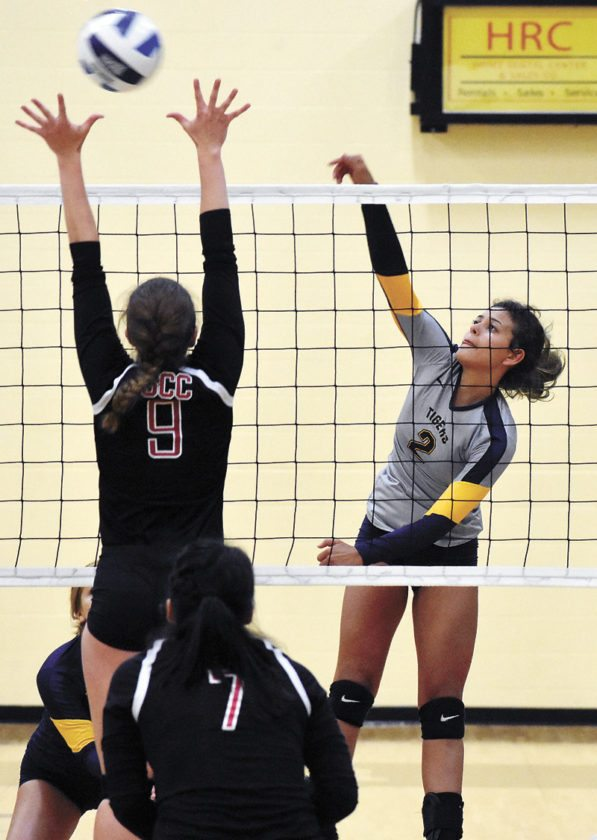 T-R PHOTO BY THORN COMPTON • Marshalltown Community College's Tiana Bolar, an East Marshall graduate, slips a spike past Southeastern Community College's Kenadi Schulte during the Tiger volleyball team's three-set loss to the Blackhawks on Monday night.