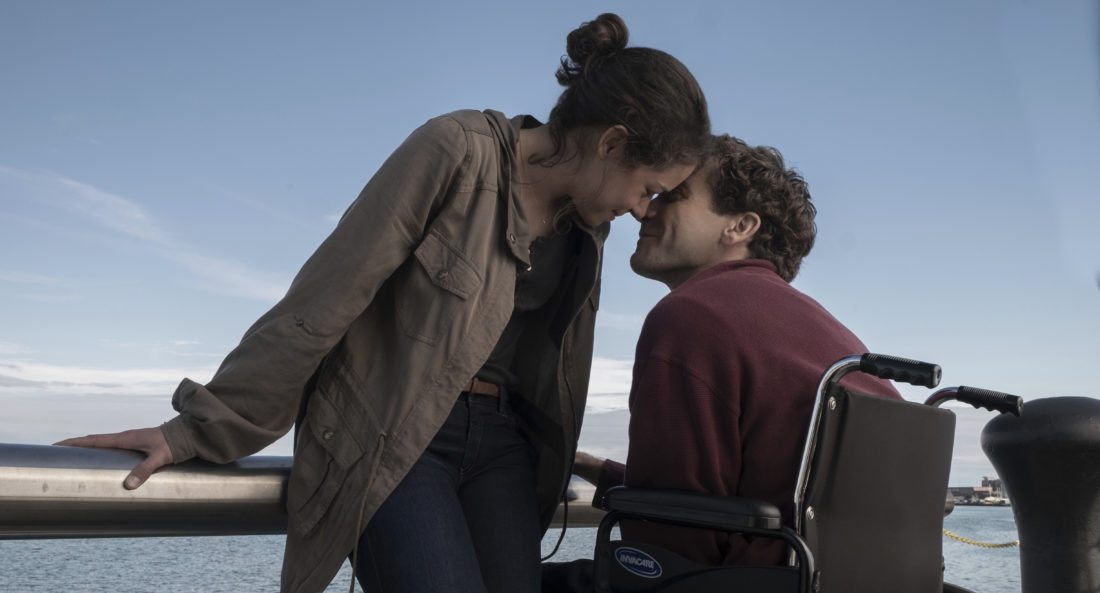 """This image released by Roadside Attractions shows Tatiana Maslany, left, and Jake Gyllenhaal in a scene from """"Stronger.""""  (Scott Garfield/Lionsgate and Roadside Attractions via AP)"""