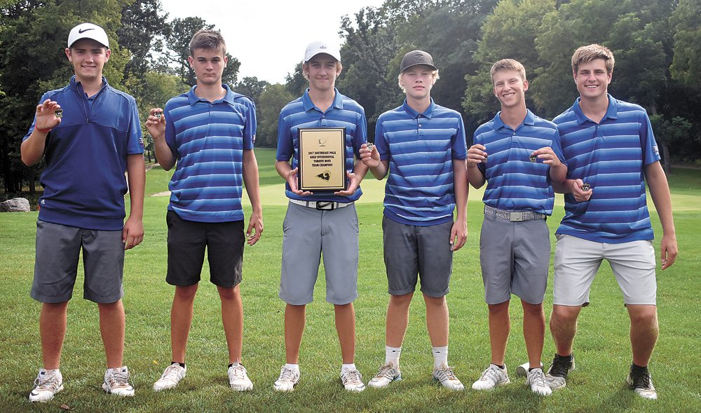 T-R PHOTO BY THORN COMPTON • The Marshalltown boys' golf team poses with its plaque and individual medals after winning the Southeast Polk Invitational on Wednesday. Pictured, from left, are JD Pollard, Tate Carlson, Cole Davis, Mason Reid, Nate Vance and Luke Appel.