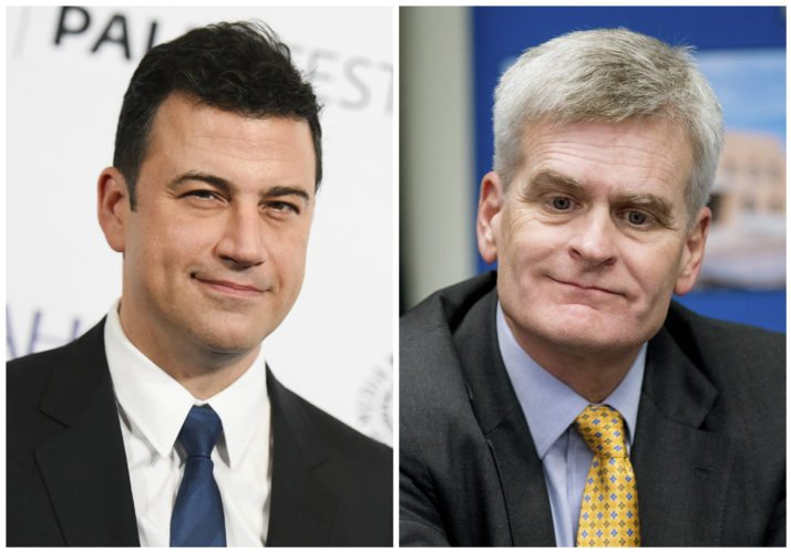 "In this combination photo,  Jimmy Kimmel appears at the 32nd Annual Paleyfest in Los Angeles on March 8, 2015, left, and Sen. Bill Cassidy, R-La., in New Orleans on Aug. 27, 2015. Kimmel said on Sept. 19, 2017, that Republican Sen. Bill Cassidy ""lied right to my face"" by going back on his word to ensure any health care overhaul passes a test the Republican lawmaker named for the late night host. The ABC comic's withering attacks this week have transformed the debate over the Graham-Cassidy bill. In the process, they've also illustrated how thoroughly late-night talk shows have changed in the last decade and have become homes for potent points of view. (AP Photo/File)"