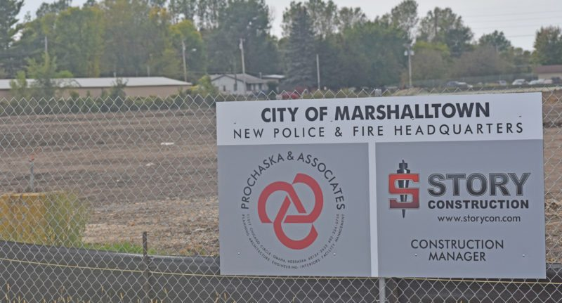 T-R PHOTO BY MIKE DONAHEY  The Marshalltown Police Department/Fire Department HQ site in the 900 block of South 2nd Street is pictured recently. Work completed since the first week of August included removal of the Knights of Columbus Hall building and significant grading.