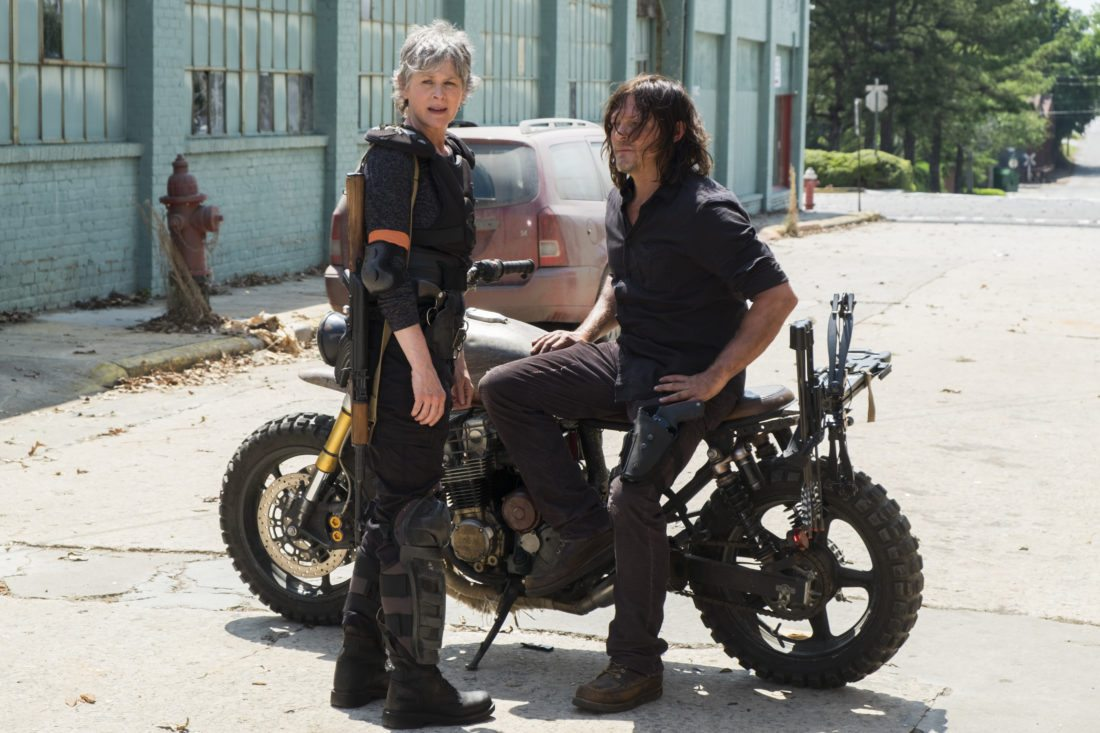 """This image released by AMC shows Melissa McBride as Carol Peletier, left, and Norman Reedus as Daryl Dixonin a scene from """"The Walking Dead.""""  The eighth season premieres on Oct. 22. (Gene Page/AMC via AP)"""