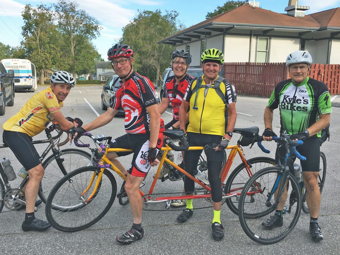 CONTRIBUTED PHOTO Retired Marshalltown dentist Bob Peterson recently completed an 87-mile-long bike ride in honor of his 87th birthday. He made the journey alongside several friends. Pictured from left, Gregg Mings, Bruce Pesch, Carole Leneau, Peterson and Paul Black.