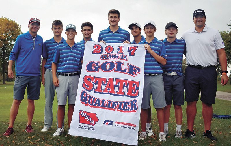 T-R PHOTO BY THORN COMPTON • The Marshalltown boys golf team poses together after taking second in its district meet on Tuesday, earning the first team state qualification for the Bobcats since 2003. Pictured are, from left, head coach Lucas Johnson, Tate Carlson, Nate Vance, JD Pollard, Luke Appel, Keygan Hansen, Cole Davis, Mason Reid and assistant coach Michael Appel.