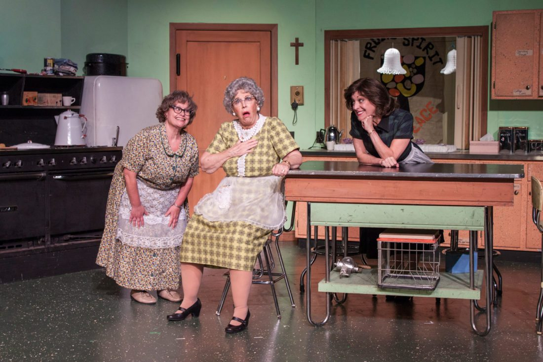 "Members of the Church Basement Ladies latest installment ""Rise Up, O Men"" cast from left to right are: Nikki Savitt, Kay Francis and Carrie SaLoutos as they rehearse one of their scenes in preparation of opening night Oct. 12"