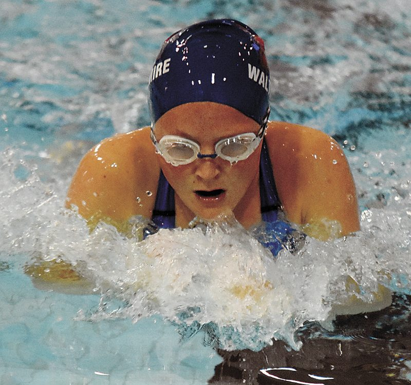 T-R PHOTO BY THORN COMPTON • Marshalltown sophomore CeCe Waltermire swims in the 100-yard breaststroke in the Bobcats' dual meet with Johnson on Thursday. MHS would go on to lose to the Dragons 124-62.
