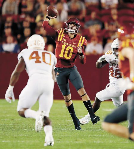 AP FILE PHOTO • Iowa State quarterback Jacob Park (10) looks to throw past Texas defenders Naashon Hughes (40) and Malik Jefferson (46) during their Big 12 Conference football game Sept. 28 in Ames.